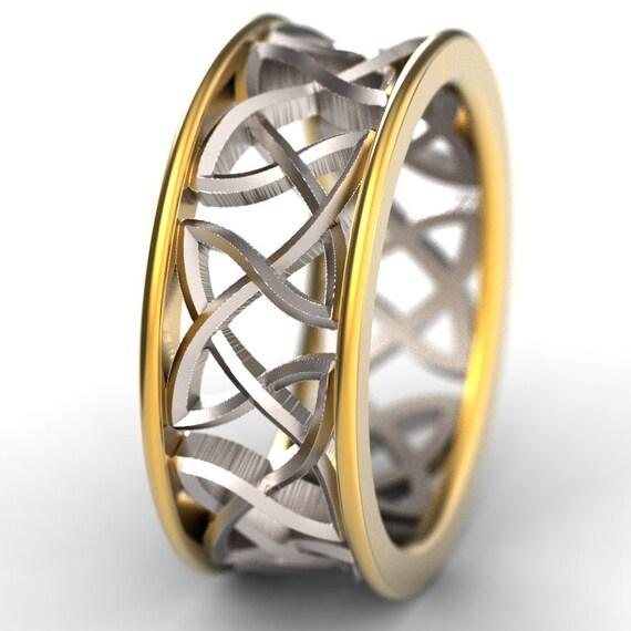 Celtic Bi-Metal Gold Wedding Ring Woven Knotwork Design Sterling Silver, 10K 14K 18K Gold, Palladium Or Platinum Made in Your Size CR-26