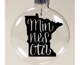 Minnesota State Outline MN Christmas Ornament Glass Disc Holiday Black Friday Jenuine Crafts