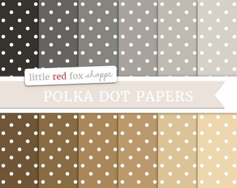 Polka Dot Digital Papers, Natural Scrapbooking Backgrounds Wallpapers Vintage Decorative Cute Crafting Graphic Design Small Commercial Use