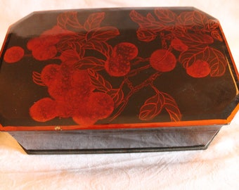 Chinese Hand Painted Wooden Keepsake Box