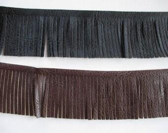 Stripe fringe faux leather fringe bag, fringe boot colors Brown, black, 5.5 cm wide.