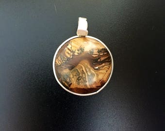 Sterling Silver Pendant featuring an African Jasper cabochon