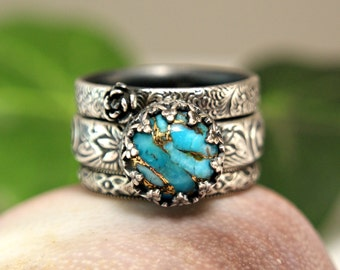 Vintage Style Copper Turquoise Stacking Rings, Three Ring Set, Sterling Silver Bohemian Style Jewelry