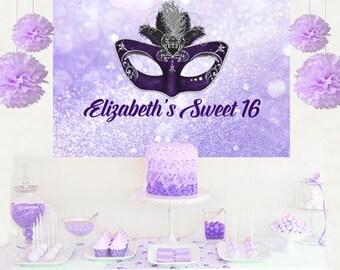Masquerade Mask Personalized Party Backdrop - Birthday Cake Table Backdrop Birthday- Sweet 16 Backdrop, Printed Vinyl Backdrop