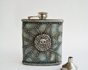 Skull hip flask, Pocket flask, Stainless Steel Flask Funnel, Pirates of the Caribbean, Hip Flask 7oz + Funnel, Silver blue hue, Pirate Gift
