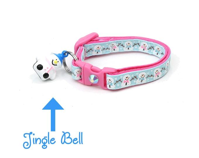 Snow Cat Collar - Jolly Snowmen on Blue - Small Cat / Kitten or Large(standard) Size Collar