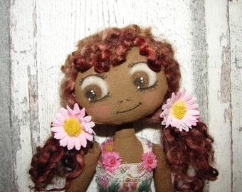 Pimprenelle, poupée de chiffon (rag doll, handmade doll, ooak doll, art doll)