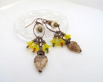 Flower Cluster Earrings, Long Dangle Earrings, Vintage Earrings, Antique Copper Earrings, Yellow Flower Earrings, FTD Awareness