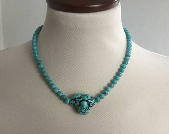 Turquoise Choker, Gemstone Necklace, Turquoise Focal Nugget, Summer Jewelry, Sundance Jewelry, Dainty Necklace, Silver Clasp,