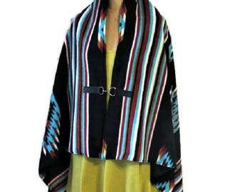 Poncho Native American Style Black Apache Shawl Cape Women's Blanket Poncho Vintage Print Southwestern Western Gift For Her Handmade