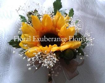 Artificial Sunflower Buttonhole/Corsage/boutonniere  Groom, Bestman, Groomsmen, Ring bearer, Guests.