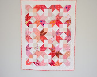 Geometric Quilt, Coral Baby Quilt, Modern Quilt, Modern Baby Quilt, Pink Quilt