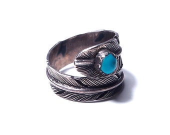 Silver feather and turquoise ring