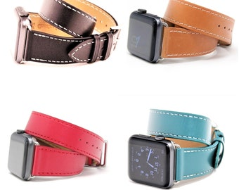 Double Tour Apple Watch Band 38mm, Double Wrap Apple Watch Strap,  Double Loop iWatch Band, Apple Watch Band 42mm, Leather iWatch Strap