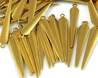 spike shape Charms ,160 Pcs Raw Brass 32x5 mm Findings 286R-52