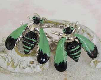 Vintage 1950s Cuff Links of Insects in Green and Black and Silver-Tone Metal by Swank