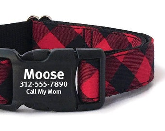 Personalized Dog Collar in a Red and Black Buffalo Plaid -  Engraved Buckle Dog Collar  - Dog Collar ID tag - Dog Collar Personalized