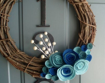 Grapevine Wreath Felt Handmade Door Decoration 12in - Blueberry
