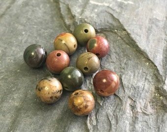 Natural Gemstone Picasso Red Round Beads 8mm