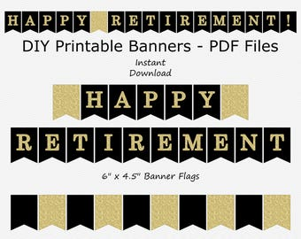 Happy Retirement Banner - Black & Gold Glitter - PRINTABLE - INSTANT DOWNLOAD