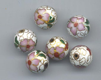 Five vintage Japanese cloisonne beads - floral pattern on a white background - 12 mm rounds