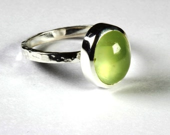 Stacking Ring with a Natural Lovely Prehnite Oval Cabochon set in Sterling Silver US # 7 1/4 EU # 55
