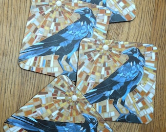 4 COASTER SET Crow Coasters  **Special Offer** Crow Mosaic Art - Original Mosaic Crow Art Gifts for Him Cork Backed Coaster  Set of Coasters