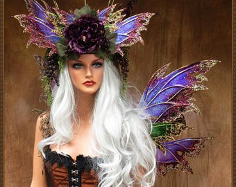 Wine Harvest Queen** Adult Fairy Wings and Crown**Iridescent Purple/Green/Gold**FREE SHIPPING**Cosplay/Masquerade/Bridal