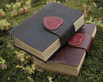 Custom personalized leather journal with heart and metal love pendant , blank notebook ,longstich handbound,unique gift Sketchbook / Diary
