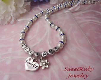Personalized Flower Girl Necklace - Rhinestone Spacers - Many Wedding Charms - Wedding Accessories