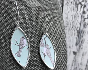 Recycled Tin Birds on Branches Earrings