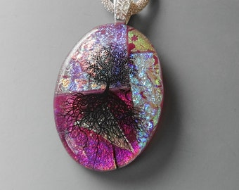 Oval Fused Glass Pendant, Dichroic Fused Glass Necklace, Tree of Life Pendant, Pink Glass Pendant, Dichroic Tree of Life Jewelry