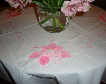 Vintage White Tablecloth with Pink Patchwork Embroidery,  45 inch Square with 4 Napkins, Tea or Luncheon Set  New Store Stock