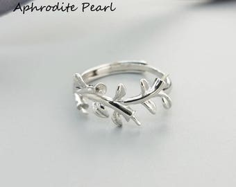 Sterling silver ring setting, plant pattern ring mounting, Jewelry DIY, gift for girls, only the setting without the pearl