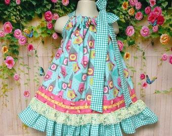Girl Dress 2T/3T Turquoise Pink Yellow Bird Houses Pillowcase Dress, Pillow Case Dress, Sundress, Boutique Dress