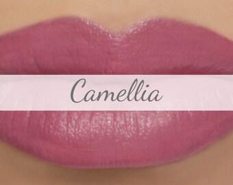 "Vegan Lipstick Sample - ""Camellia"" (rose pink mineral lipstick) natural lip tint"