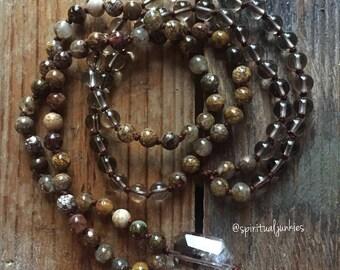 Pietersite + Smoky Quartz Mini Mala | 108 Bead | 6 mm | Handknotted | Spiritual Junkies |Yoga + Meditation
