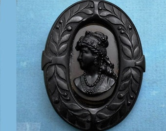 Antique Gutta Percha Black Mourning Cameo Elaborate Flowers & Hair Jewelry Brooch/ PENDANT 129.90.  Victorian Black Jet Glass Necklace Avail