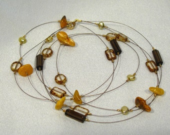 Multi-strand Tin Cup Necklace - Baltic Amber and Pearls - 24 inches - NP11