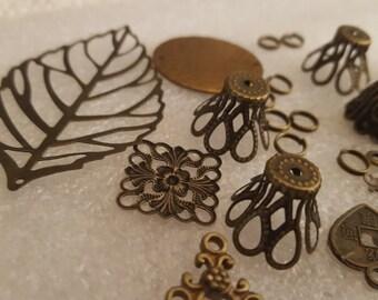 Bronze tone antique gold Components Destash