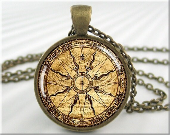 Compass Face Pendant Nautical Necklace Resin Jewelry Charm Gift Under 20 Round Bronze 392RB