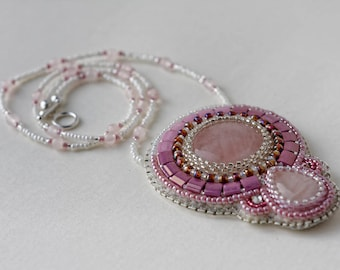 Rose Quartz pendant bead embroidered necklace, Beadwork, Handmade Christmas Gift