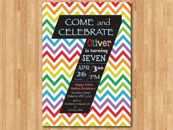 Rainbow 7th Birthday Invitation. Colorful Chevron Birthday