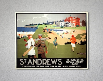 St. Andrews Golf Sport Vintage Travel Poster, Canvas Giclee Print / Gift Idea