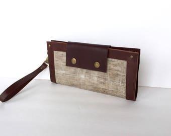 Waxed Linen & Leather Smartphone Wallet, Clutch Purse, Wristlet