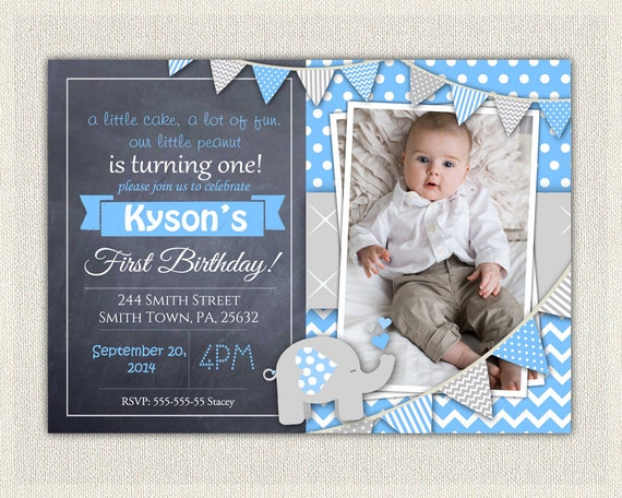 Elephant Boys Blue Grey 1st Birthday Invitation Download