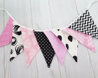 Black and pink banner , fabric banner , black and pink garland