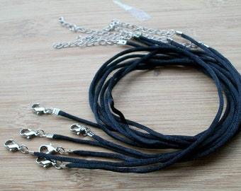 20pcs 24-26 inch adjustable 2mm black satin necklace cords with lobster clasps