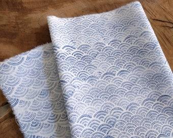 Block Print Fabric, Japanese Waves Pattern in Indigo Blue | Hand printed soft cotton fabric, Japanese block printed pattern of ocean waves.