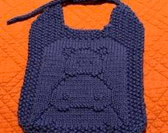 Hand Knit Hippo Baby Bib & Washcloth Kit
